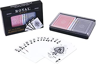 2-Decks Royal Poker Size 100% Plastic Playing Cards Set in Plastic Case