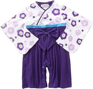 ベビー 赤ちゃん 着物 袴 和装 子供 ジンベエ セット 甚平 フォーマル ロンパース キッズ カバーオール 紋付袴 子供服 (90, 2C-紫の花)