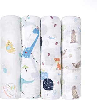 """Muslin Baby Swaddle Blankets, Bamboo Receiving Blankets for Boys and Girls,47""""x47"""",4 Pack, Shower Gift Set"""
