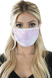 Reusable Fabric Face Mask Unisex Washable Covering - Cute Print Cloth Comfy Breathable Adjustable Outdoor Mouth Shield Protection Men Women (Round/Ear Loop - Tie Dye Aqua Lilac)
