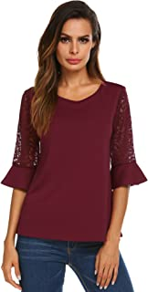 Meaneor 3/4 Sleeve Shirts for Women Womens Lace Tops Round Neck Solid Summer Blouse, S-XXL