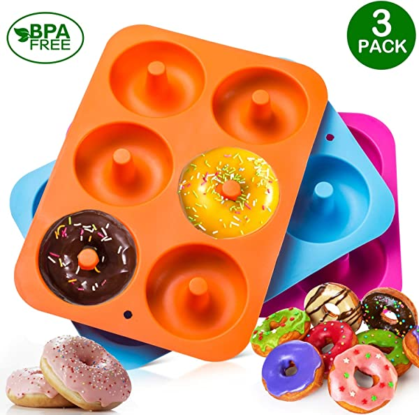 3 Pack Silicone Donut Baking Pan Of 100 Nonstick Silicone BPA Free Mold Sheet Tray Makes Perfect 3 Inch Donuts Tray Measures 10x7 Inches Easy Clean Dishwasher Microwave Safe