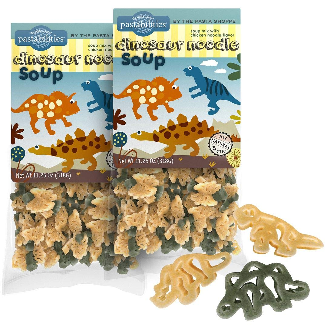 Pastabilities Dinosaur Noodle Soup, Fun Dino Shaped Noodles with Chicken Soup Mix for Kids, Non-GMO Natural Wheat Pasta, Serves 10 (11.25 oz, 2 Pack)