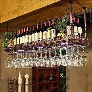 Ybzx Dîner Racks de Verres à Pied Organisateur Hauteur réglable Plafond Suspendu Porte-Bouteille de vin Verres à vin rusti...