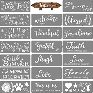 20 PCS Welcome Stencil for Painting on Wood,Home Sign Stencils Reusable Porch Sign and Front Door Vertical Welcome Comes w...