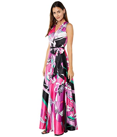Tahari by ASL Sleeveless Printed Charmeuse Gown