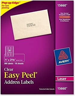 Avery Easy Peel Clear Address Labels for Laser Printers, 1 x 2.625, 2 PK (15660)