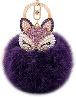 73ce617207cc Boseen Genuine Rabbit Fur Ball Pom Pom Keychain with A fashion Alloy Fox  Head Studded with