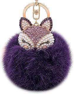Boseen Genuine Rabbit Fur Ball Pom Pom Keychain with A fashion Alloy Fox Head Studded with Synthetic Diamonds(Rhinestone) for Womens Bag Cellphone Car Charm Pendant Decoration(Purple2)