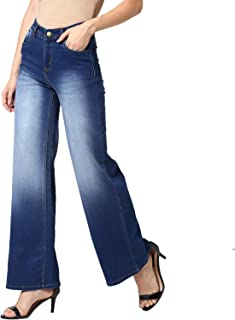 StyleStone Women's Blue Flared Denim Jeans with Washed Effect