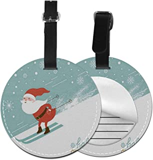 Round Luggage Tags Christmas Santa Claus Snowflake Travel Accessories Suitcase Name Tags