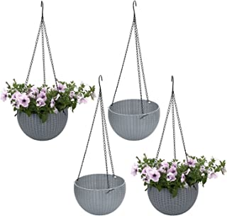 T4U Plastic Hanging Planter Light Grey Pack of 4, Self Watering Basket Round Flower Plant Orchid Herb Holder Container for Home Office Garden Porch Balcony Wall Indoor Outdoor Decoration Gift