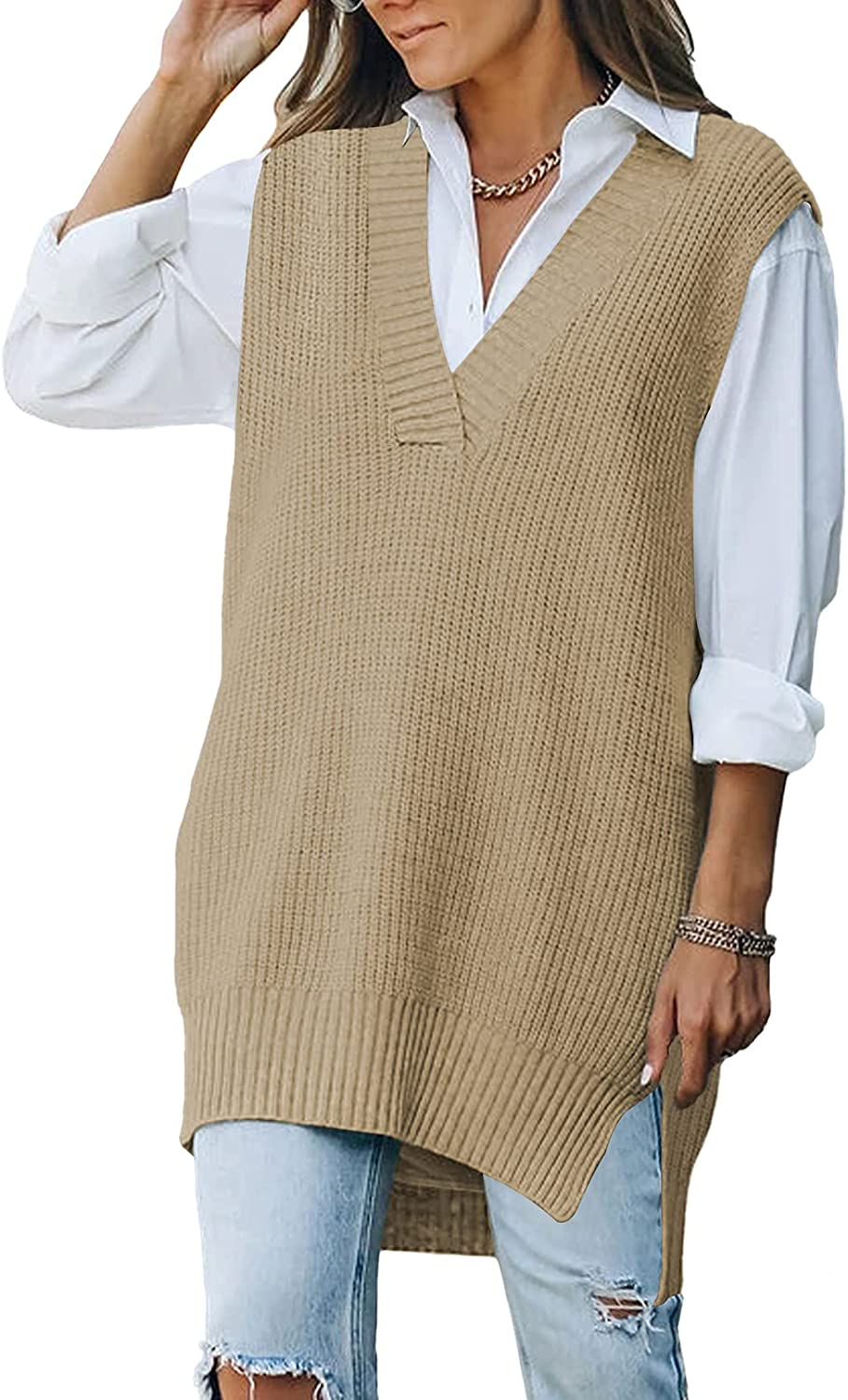 Selowin Women's Sweater Vest V Neck Cable Knit Sweaters Loose Pullover Top