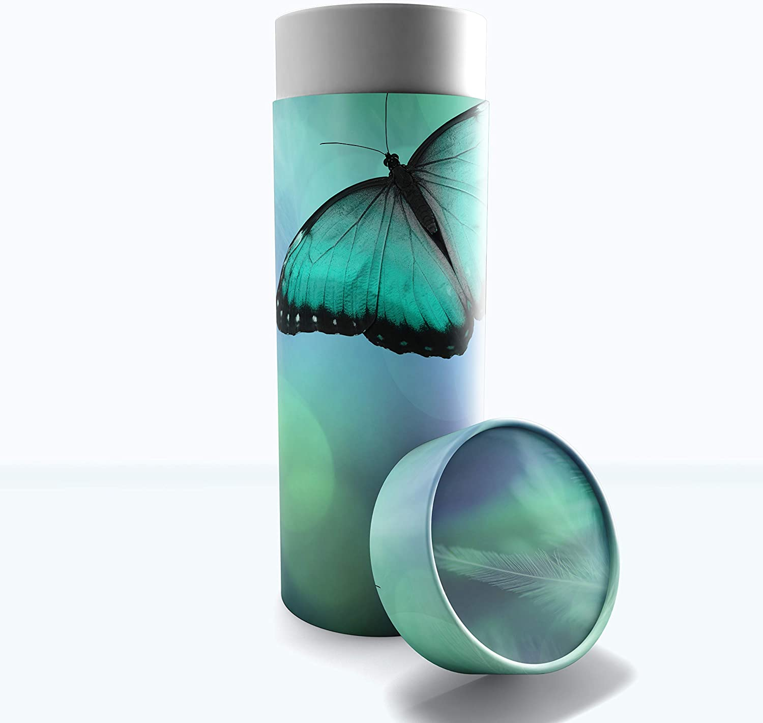 Female Cremation Urns Biodegradable & Eco Friendly Cremation Urns for Adult Ashes, Burial Urns, Scattering Tube for Ashes, Scattering Urns for Human Ashes (Bokeh Butterflies, Small 8