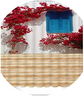 3D View Shower Curtain Flowers Landscape Wall Pattern Bathroom Curtain Waterproof Washable Bath Curtain Customizable,Color A,W100 x H180cm