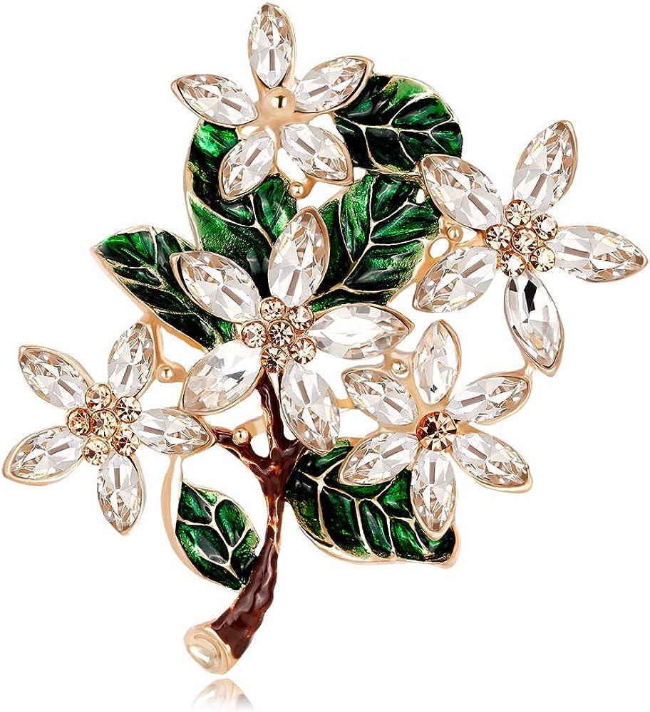 Womens Flower Green Leaf Rhinestone Brooch Pin