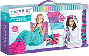 Make It Real - Knot A Unicorn & Mermaid 2-in-1 Mega Blanket Set for 7 Years & Up Children - Perfect for Creative Kids to Enjoy Making