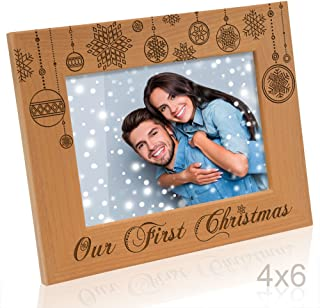 Kate Posh - Our First Christmas - Engraved Natural Wood Picture Frame (4