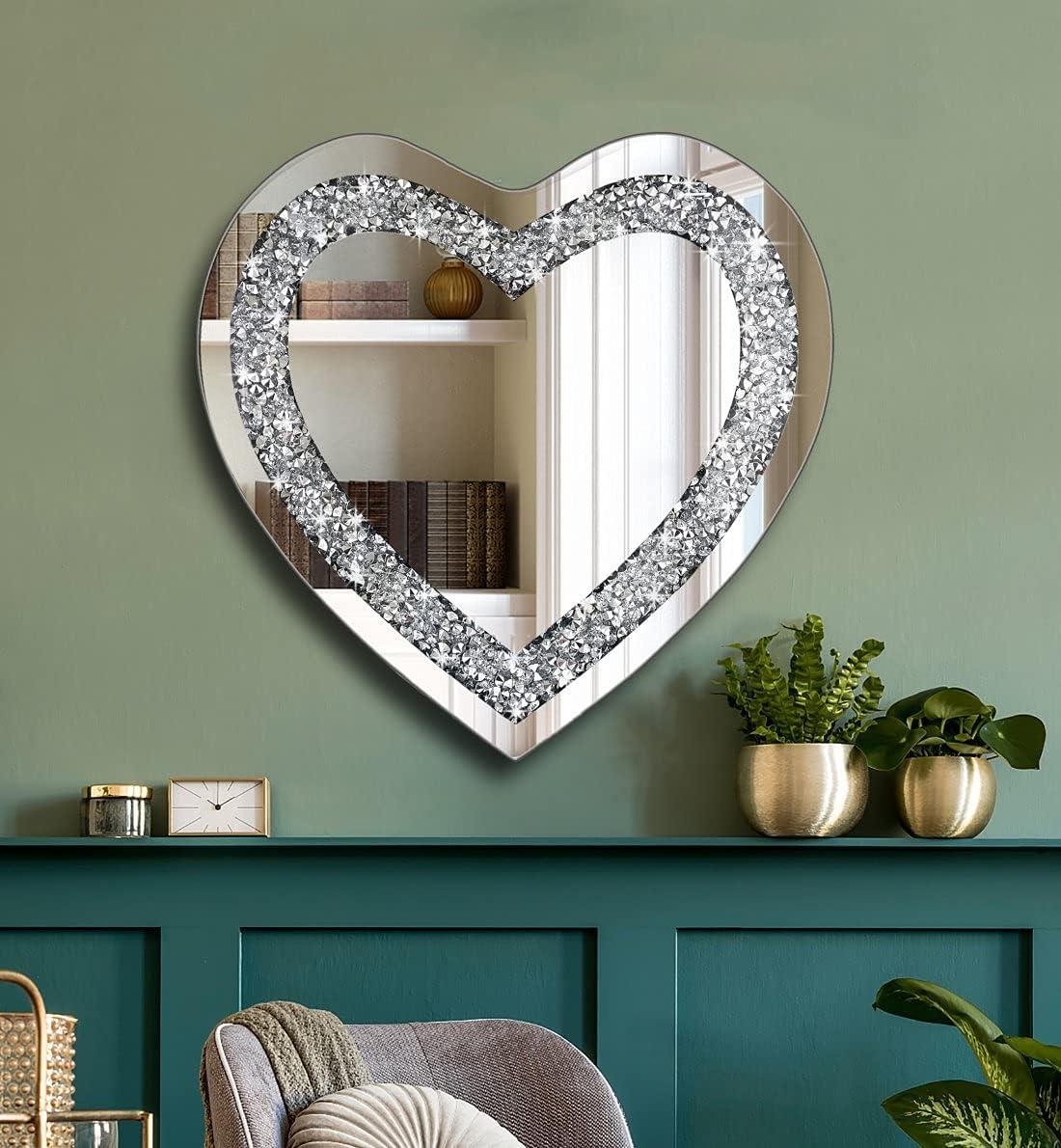 Crystal Crush Diamond Heart Shaped Silver Mirror for Wall Decoration 20x20x1 inch Wall Hang Frameless Mirror Acrylic Diamond Décor.