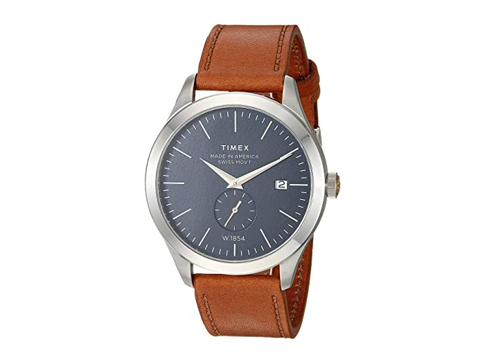 UPC 753048833306 product image for Timex 41 mm American Documents Leather Strap (Silver/Blue/Brown) Watches | upcitemdb.com