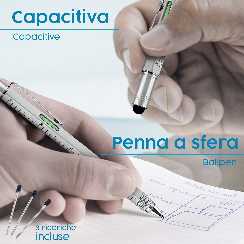 Penna a Sfera X3 Pitagora Smart Pen Righello Cacciavite,Livella e Pen Touch,Regalo Originale Utile per Uomo Festa del Pap/à,Gadget Tecnologico Ufficio Penna MultiTool Professionale Innovativa 9 in 1
