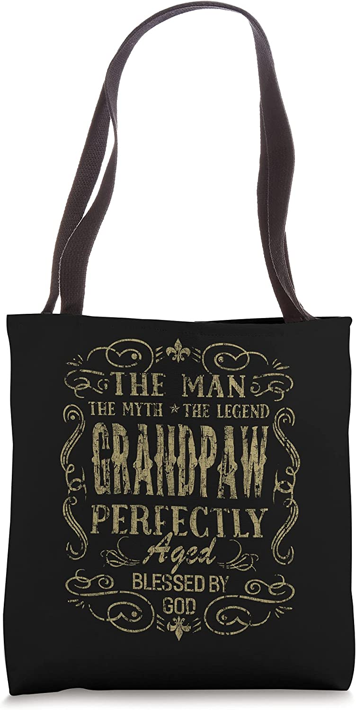 Vintage Grandpaw The Man Myth Fathers Day Grandpa Gift Men Tote Bag