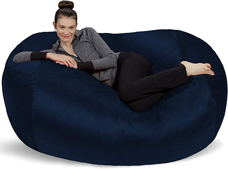 Sofa Sack Plush Bean Bag Sofas With Super Soft Microsuede Cover XL Memory Foam Stuffed Lounger Chairs For Kids Adults Couples Jumbo Bean Bag Chair Furniture Navy 6