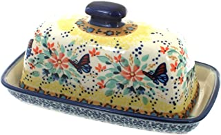 Blue Rose Polish Pottery Blue Butterfly Butter Dish