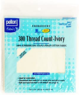 Pellon 300 Thread Count Cotton Fabric for Embroidery, 20 by 24-Inch, Ivory