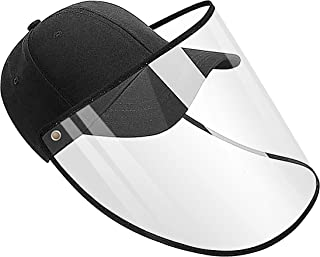 Anti-Spittle Splash Dust-Proof Sunscreen Detachable Adjustment Washable Full Face Protection Baseball Cap with Protective Compartment Unisex Outdoor Black