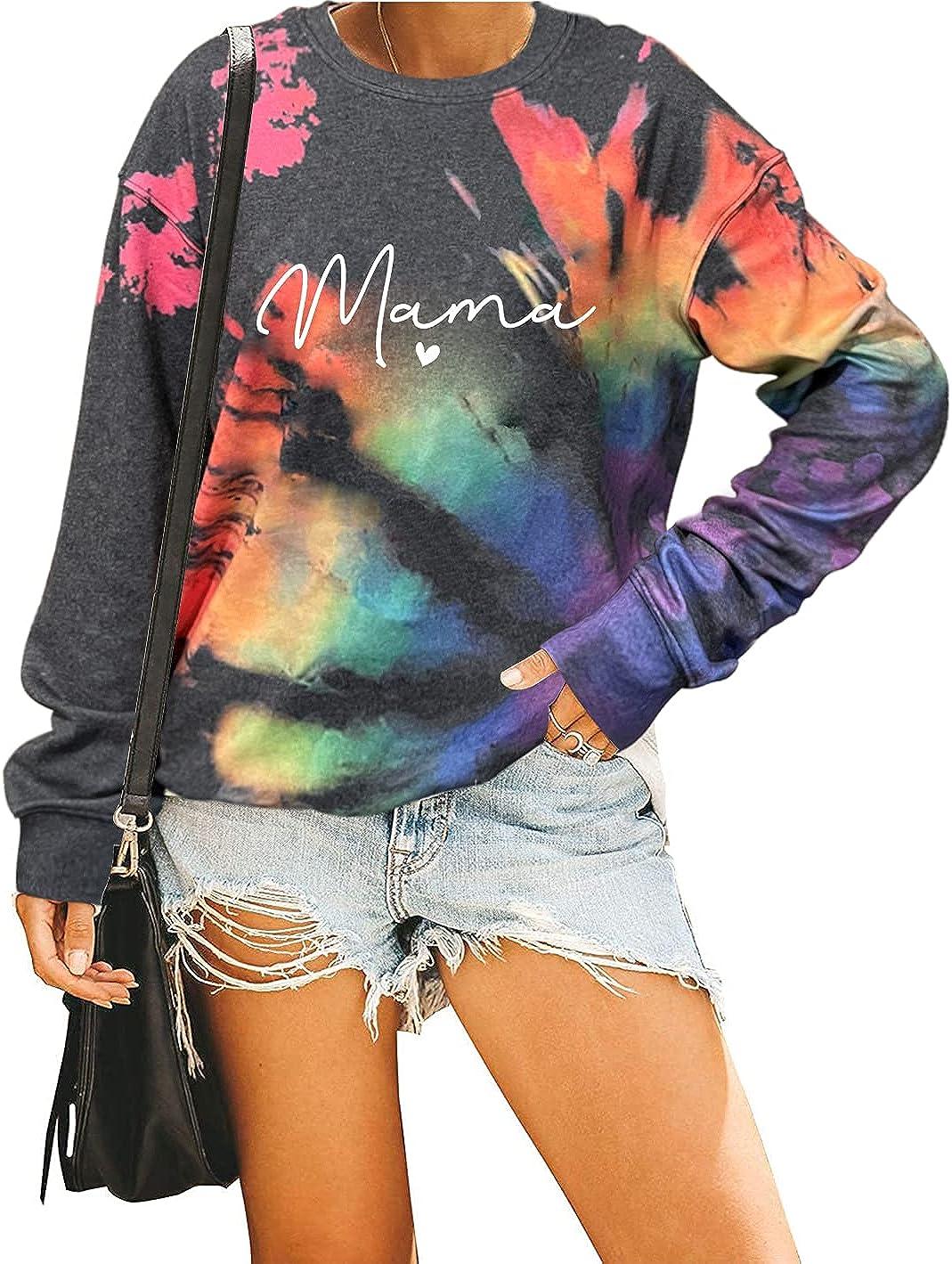 Mama Sweatshirt For Women Reverse Tie Dye Rainbow Fall Crewneck Sweatshirt Funny Mother Gifts Long Sleeve Pullover Tops
