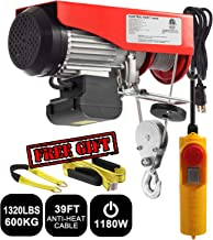 Partsam 1320 lbs Lift Electric Hoist Crane Remote Control Power System, Zinc-Plated Steel Wire Overhead Crane Garage Ceiling Pulley Winch w/Premium Straps (UL/CUL Approval, w/Emergency Stop Switch)