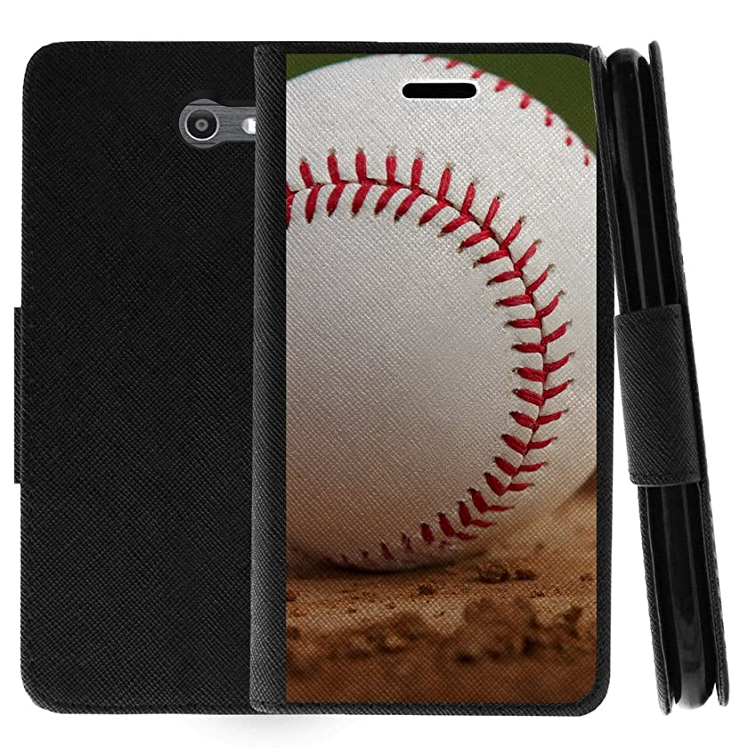 TurtleArmor | Samsung Galaxy J7 2017 Case | J7 Perx | J7 Prime | J7 Sky Pro | Flip Kickstand Wallet Case Cover with Card Slots Sports and Games Design - Baseball Dirt