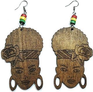 راستا وودن فلاور عمامة شعر للنساء الأفريقيات أزياء المجوهرات أقراط طويلة متدلية