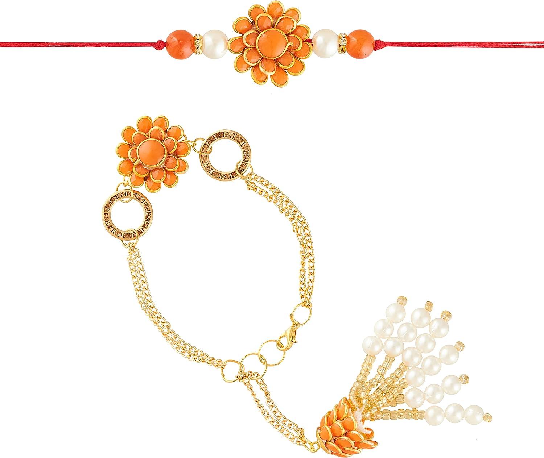 Eximious India Rakhi for Bhaiya Bhabhi Rakhi Bracelet for Brother and Lumba Rakhi Set on Rakshabandhan (Orange)