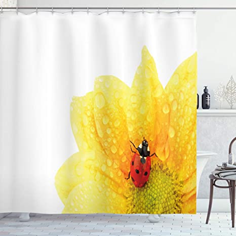 Amazon Com Ambesonne Yellow Flower Shower Curtain Cute Little Ladybug On Gerbera Wet Petals Water Drops Fresh Garden Fabric Bathroom Decor Set With Hooks 70 Long Yellow Vermilion Home Kitchen
