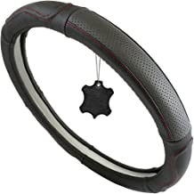 TireTek Genuine Leather Steering Wheel Cover, Universal 15 Inch - Breathable, Anti Slip & Odor Free - Best for Comfort & Durability (15 inch (Medium), Black with Red Detail Stitching)