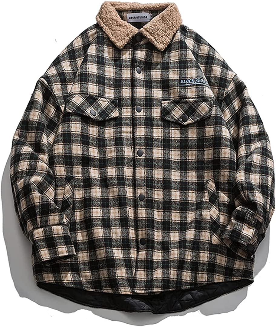 Fleece Turn Down Collar Single Breasted Jacket Men Winter Cotton Padded Thick Warm Plaid Coat Parka