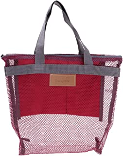 LuDa Cosmetic Bag Portable Carry on Travel Toiletry Tote Bag - Wine Red, as described