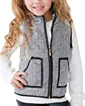 Girls Buffalo Vest Fall Cute Puffer Padded Jackets Quilted Lined Gilet Winter Warm Clothes