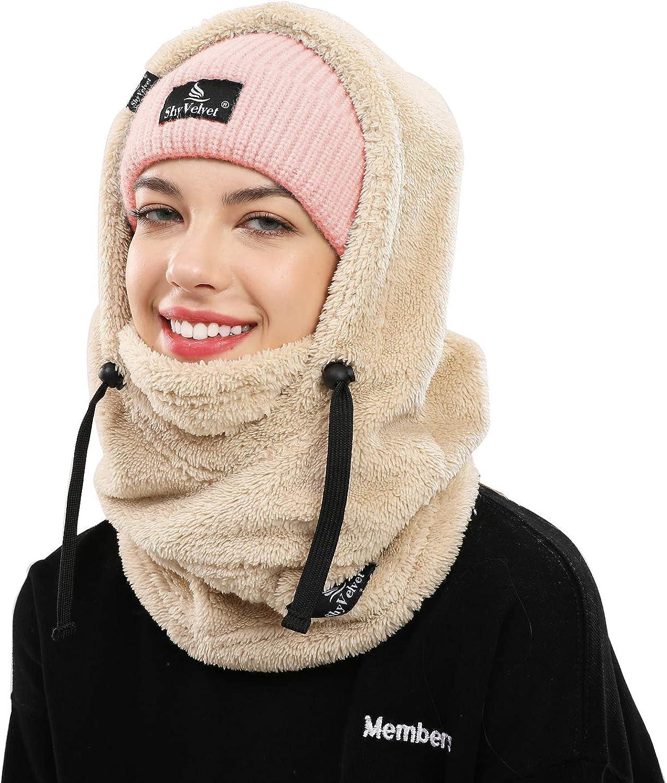 Shy Velvet Balaclava Wind-Resistant Winter Face Mask,Fleece Cold Weather Ski Mask