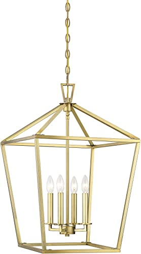 """2021 Savoy House 1-321-4-322 Townsend 4-Light Foyer wholesale Pendant in popular a Warm Brass Finish (17"""" W x 26"""" H) outlet sale"""