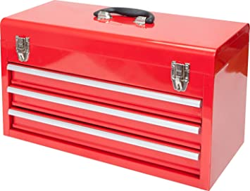 """BIG RED ANTBD133-XB Torin 20"""" Portable 3 Drawer Steel Tool Box with Metal Latch Closure, Red: image"""