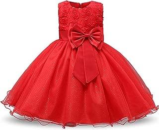 Vintage Flower Girls Dresses Children Party Ceremonies Princess Baby Girl Wedding Dress Birthday Big Bow
