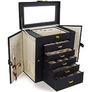 Kendal Huge Leather Jewelry Box/Case / Storage LJC-SHD5BK (Black)