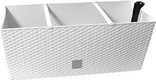 Jardinera Terra Rato de material plástico con maceta interior, color blanco, 60 cm