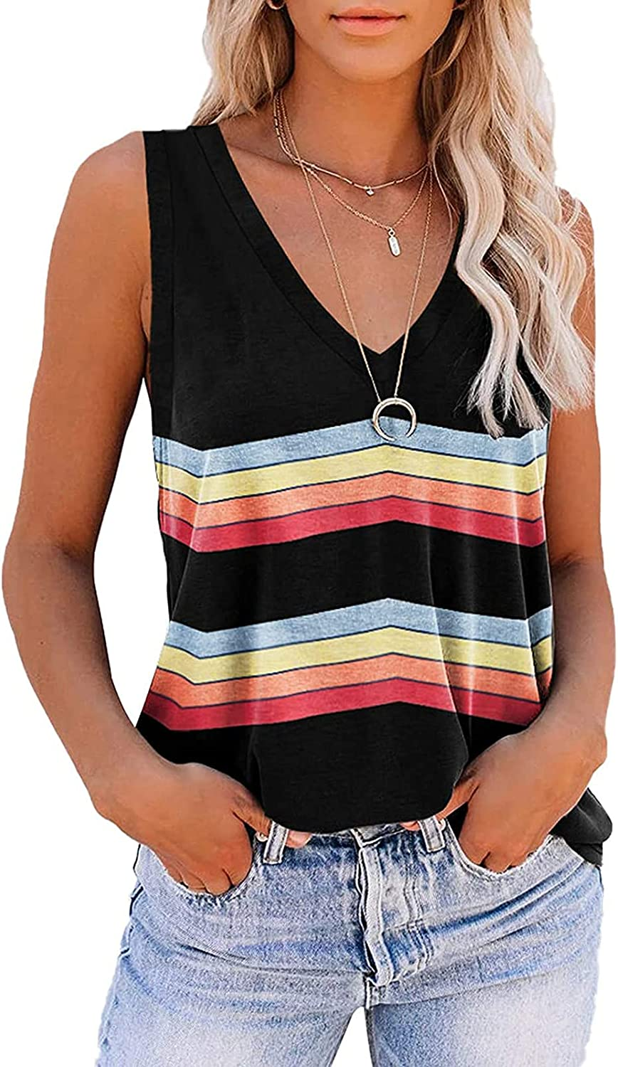 Womens Summer Casual Striped Printed T-Shirt, Fashion V-Neck Loose Sleeveless Vest Tank Tops