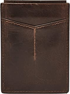 Fossil Men's Derrick Leather RFID Blocking Magnetic Card Case Wallet