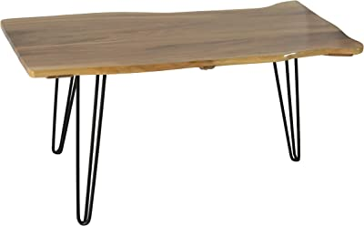 Calabria Live Edge Solid Walnut Coffee Table with Iron Hairpin Legs