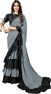 MANOHARI Plain Georgette Ruffle Saree with Blouse Piece
